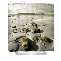 Green Stones On A North Wales Beach Shower Curtain by Mal Bray