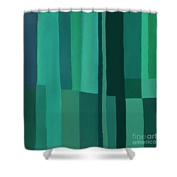 Shower Curtain featuring the digital art Green Stripes 1 by Elena Nosyreva