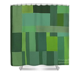 Shower Curtain featuring the digital art Green Stripes 2 by Elena Nosyreva