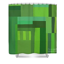 Shower Curtain featuring the digital art Green Stripes 3 by Elena Nosyreva