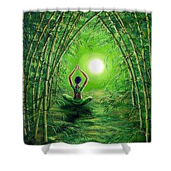 Green Tara In The Hall Of Bamboo Shower Curtain