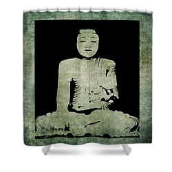 Shower Curtain featuring the painting Green Tranquil Buddha by Kandy Hurley