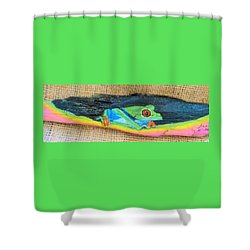 Green Tree Frog Shower Curtain by Ann Michelle Swadener