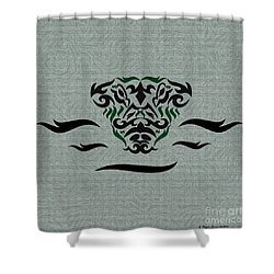 Shower Curtain featuring the digital art Green Tribal Gator by Megan Dirsa-DuBois