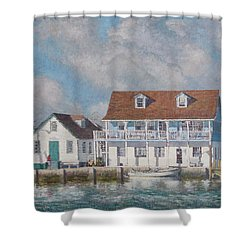 Green Turtle Cay Past And Present Shower Curtain