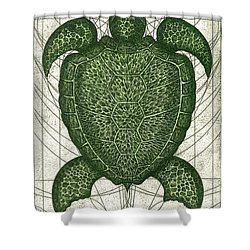 Green Turtle Shower Curtain by Charles Harden