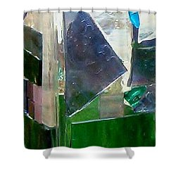 Shower Curtain featuring the glass art Green Vase by Jamie Frier