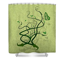 Green Vine And Butterfly Shower Curtain by Svetlana Sewell