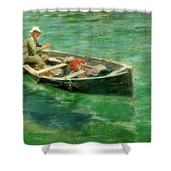 Shower Curtain featuring the painting Green Waters by Henry Scott Tuke