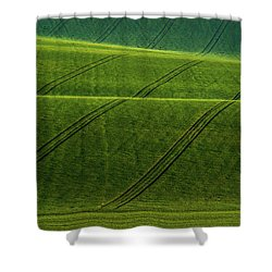 Shower Curtain featuring the photograph Green Waves Of Rolling Hills by Jenny Rainbow