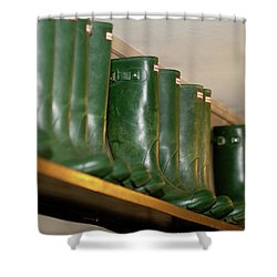 Green Wellies Shower Curtain