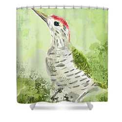 Green Woodpecker Shower Curtain