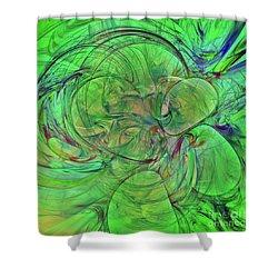 Shower Curtain featuring the digital art Green World Abstract by Deborah Benoit