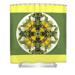 Green Yellow Kaleidoscope Shower Curtain