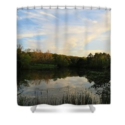 Shower Curtain featuring the photograph Greenfield Pond by Kimberly Mackowski