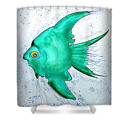Shower Curtain featuring the mixed media Greenfish by Walt Foegelle