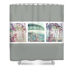 Shower Curtain featuring the photograph Greenhouse Blossoms Triptych by Jessica Jenney