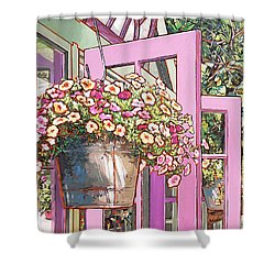Greenhouse Doors Shower Curtain by Nadi Spencer