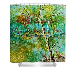 Shower Curtain featuring the painting Greens Of Late Summer by Carolyn Rosenberger