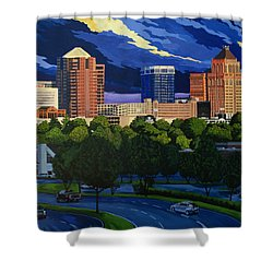 Greensboro Skyline In The Sunshine Shower Curtain