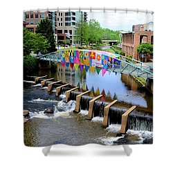 Greenville River Walk Shower Curtain by Corinne Rhode