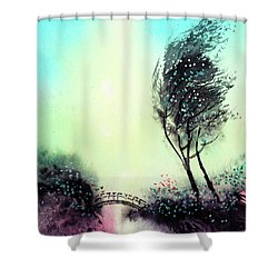 Shower Curtain featuring the painting Greeting 1 by Anil Nene