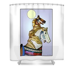 Shower Curtain featuring the digital art Greeting The Moon by Lise Winne