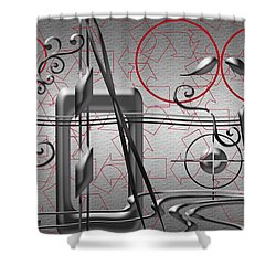 Grey And Red Circles Shower Curtain