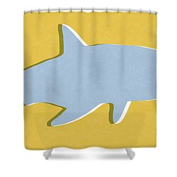 Grey And Yellow Shark Shower Curtain by Linda Woods