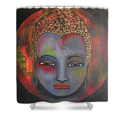 Grey Buddha In A Circular Background Shower Curtain by Prerna Poojara