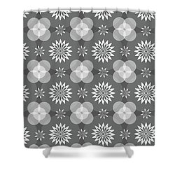 Grey Circles And Flowers Pattern Shower Curtain