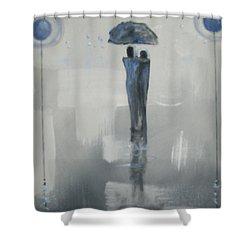 Grey Day Romance Shower Curtain