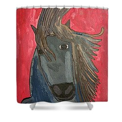 Shower Curtain featuring the painting Grey Horse by Artists With Autism Inc