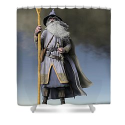 Grey Wizard Shower Curtain