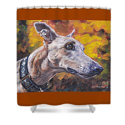 Shower Curtain featuring the painting Greyhound Portrait by Lee Ann Shepard