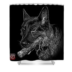 Shower Curtain featuring the digital art Greyscale German Shepherd And Toy - 0745 F by James Ahn