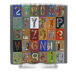 Grid Letters Shower Curtain