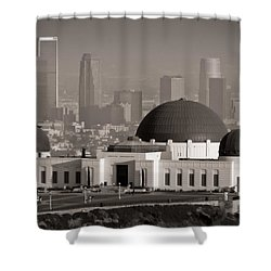 Griffith Observatory Shower Curtain by Adam Romanowicz