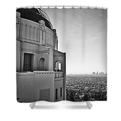 Griffith Observatory And Downtown Los Angeles Shower Curtain by Kirt Tisdale