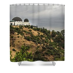 Shower Curtain featuring the photograph Griffith Park Observatory by Ed Clark