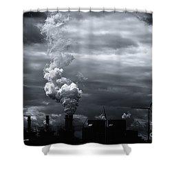 Grim Black White Energy Landscape Shower Curtain