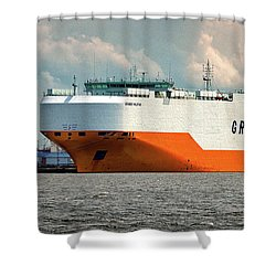 Shower Curtain featuring the photograph Grimaldi Lines Grande Halifax 9784051 At Curtis Bay by Bill Swartwout Fine Art Photography