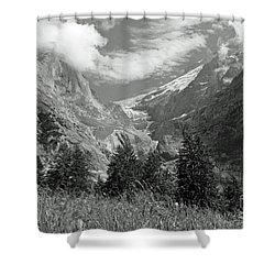 Grindelwald Glacier In Switzerland In Black And White Shower Curtain