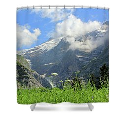 Grindelwald Glacier In Switzerland Shower Curtain by Pixelshoot Photography
