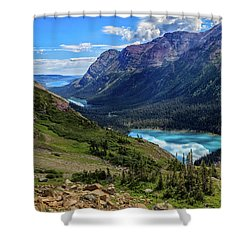 Grinell Hike In Glacier National Park Shower Curtain by Andres Leon
