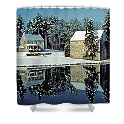 Grings Mill Snow 001 Shower Curtain by Scott McAllister