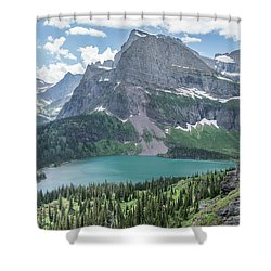 Grinnell Lake From Afar Shower Curtain by Alpha Wanderlust