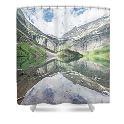 Grinnell Lake Mirrored Shower Curtain by Alpha Wanderlust