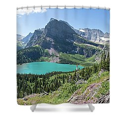 Grinnell Lake Panoramic - Glacier National Park Shower Curtain
