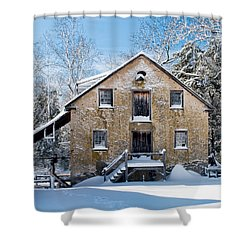 Gristmill In The Snow Shower Curtain